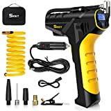 SKEY Air Compressor Tyre Inflator - Handheld Electric 150PSI Portable Air Compressor, Cordless Car Tyre Pump with Rechargeable Battery, USB + Cigarette Lighter Power Cord, Digital Pressure Gauge
