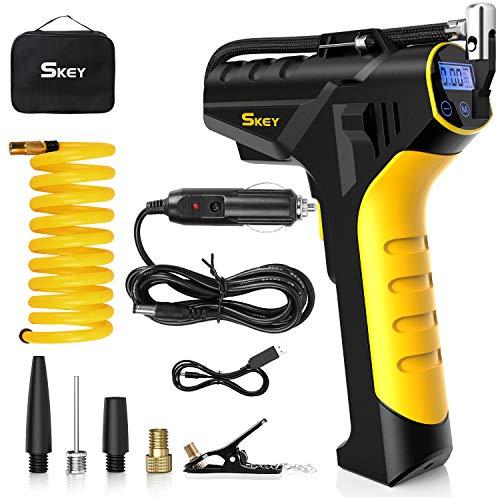 SKEY elektrische Luftpumpe, 2200mAh Batterie Luftkompressor, Auto Luftpump mit 12V-Netzkabeladapter, USB-Kabel, 1,5M Verlängerungsrohr, LED Lampe