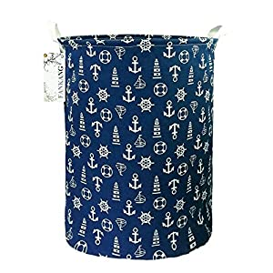FANKANG Storage Basket, Nursery Hamper Canvas Laundry Basket Foldable with Waterproof PE Coating Large Storage Baskets for Kids Boys and Girls, Office, Bedroom, Clothes,Toys( Sailboat)
