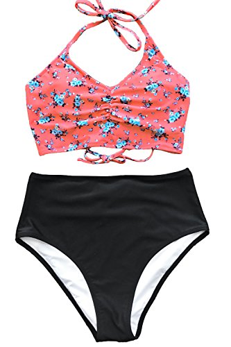 CUPSHE Women's Attract Your Attention High Waisted Lace Up Halter Bikini Set, Red, X-Large