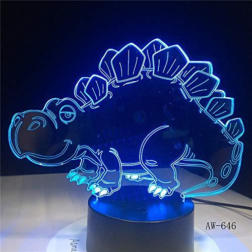jiushixw 3D acryl nachtlampje met afstandsbediening kleurverandering lamp cartoon dinosaurus met verbazingwekkende heldere eikenlampen kus