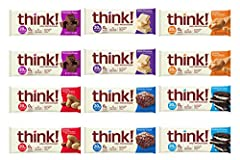 VARIETY SAMPLER: 6 Flavors, Includes 12 Think! High Protein bars: 2 bars of 6 flavors including Chocolate Fudge, Creamy peanut butter, Brownie crunch, Chunky Peanut Butter, Cookies & crème, White Chocolate, Flavor may vary due to availability. You ca...