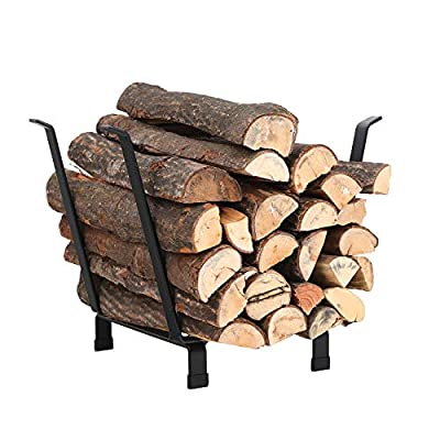 PHI VILLA 20 Inches Medium Decorative Indoor/Outdoor Firewood Log Rack Bin with Scrolls, Black