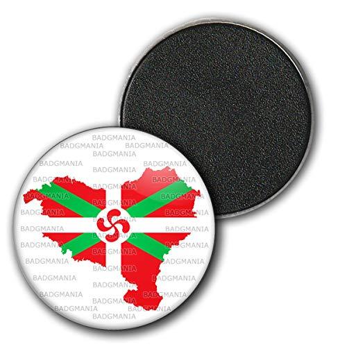Badgmania Magnet Aimant Frigo 3.8cm Carte Pays Basque Euskadi Euskara Croix Symbole 64 Biarritz