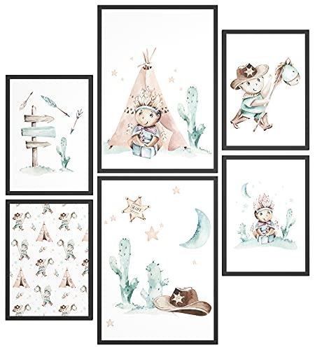 Mood-Poster Set Niños Vaqueros e Indios | Lámina decorativa para el cuarto infantil | 2x 30x40cm y 4x 21x30cm para marcos de IKEA | Tipi Cactus Caballo - Póster infantil sin marco