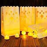 Led Luminary Bags + Flameless Candles Set, 30 Lumanaries Bags with 30 Flameless Tealights, Outdoor Luminaries for Wedding, Birthday, Party, Christmas-Diamond