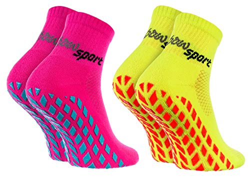 Rainbow Socks - Donna Uomo Neon Calze Sportive Antiscivolo - 2 paia - Rosa Giallo - Taglia 36-38