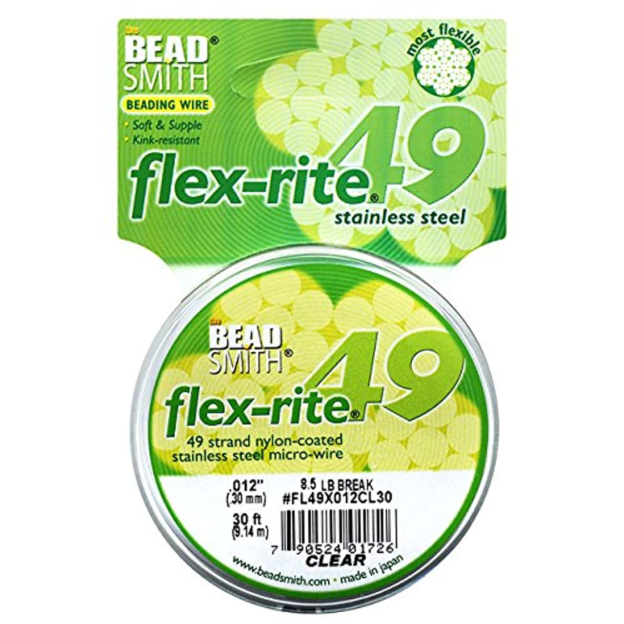 49 Strand Flex Rite Beading Stringing Wire .012 Inch 30 Feet Professional Nylon Coated Stainless Steel for Small Hole Beads 9 Lb Break ,