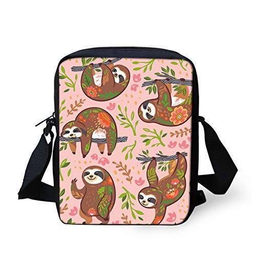 UNICEU Cute Animal Sloth Pritning Crossbody Shoulder Bag for Teens Boy Cell Phone Holder Satchel