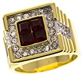 Sujak Jewelry True Blood Men's Ring Ruby Red Simulated Russian czs 18K Gold Overlay Size 12