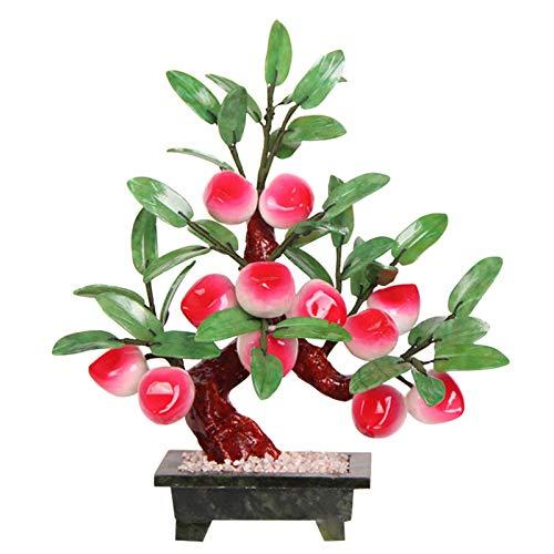 YIYIBYUS Jade Peach Bonsai,12 Peach Jade Plant Bonsai Hardstone Gemstone Tree Fruit Plant Feng Shui Decor for Family Or Office Room,Bonsai Fortune Money Tree