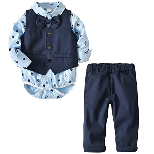 Echinodon Baby Hemdbody mit Fliege + Weste + Hose/Bekleidungsset Junge Kleinkinder Gentleman Anzug Baumwolle Set Babyanzug Blau