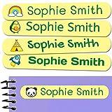 50 Etiquetas Adhesivas Personalizadas, de 6 x 1 cms, para marcar objetos, libros, fiambreras, etc. Color Amarillo Pastel