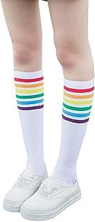 calcetines deporte mujer moda calcetines altos de algodón casual y salvaje calcetines arcoiris mujer niña calcetines de fútbol calcetines de algodón de tubo medio