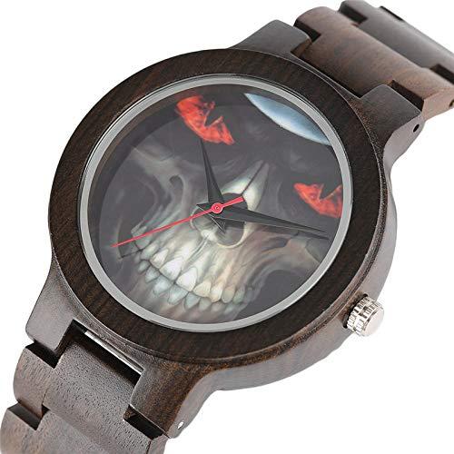 MOLINB Hölzerne Uhr Coole Skull Uhren für Männer Hellfire Design Rock Holz Armbanduhr Bamboo Chain Band Top Casual Sportliche Armreif Relogio Masculino
