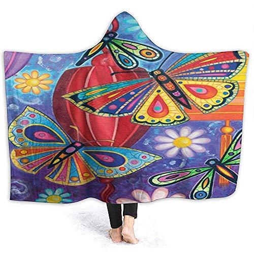 Hirkeld Bright Wings Manta con Capucha de Mariposa Manta de Abrigo de Terciopelo Súper Suave y acogedora Manta de Siesta Caliente Poncho Poncho