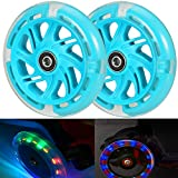 Kutrick Light Up 120mm Scooter Wheels - Kids 3 Wheel Scooter 120mm LED Light Up Scooter Wheels Replacement Pair with ABEC-9 Bearing - Smooth Bearing Installed - Bright Flashing Light