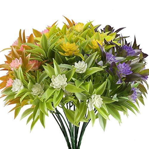 ZWR 4 UNIDS Flores Artificiales Falsas Plástico Verdor Arbustos Plantas,Faux Ramos De Flores De La Boda Inicio Cocina Oficina Decoraciones De Alféizar