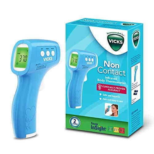 Vicks HTD8813EE - Termómetro corporal infrarrojos sin contacto Vicks (preciso, práctico, cribado de temperatura, control de la fiebre, rápido y fácil de usar) HTD8813EE