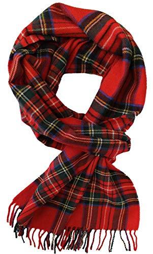 Echarpe en laine Echarpe tissée Echarpe homme chaude et douce Laine à carreaux Fabriqué en Allemagne 180 x 30 cm (Rouge)