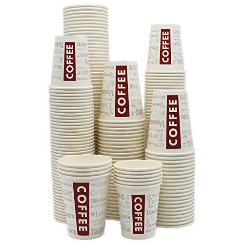 BAMI 1000 Stück Kaffeebecher Pappbecher 0,3l/12oz. Einwegbecher Pappe weiß mit Design Coffee