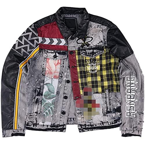 Herren Hip Hop Jeansjacke Blumendruck Patchwork Jeansjacke Street Rock Jacke as pic S