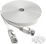 Jadaol Cat 6 Ethernet Cable 15 ft - Flat Internet Network Lan patch cord Short – faster than Cat5e/Cat5, Slim Cat6 High Speed Computer wire With Snagless Rj45 Connectors for Router, PS4, Xobx – 15 feet White, 15Ft-White (4453055)