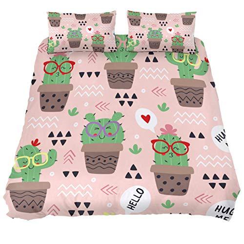 MUMIMI Juego de funda nórdica decorativa de 3 piezas con 2 fundas de almohada, diseño de cactus rosa, cuatro tamaños