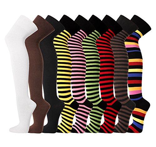 TippTexx24 Damen Overknees, Überkniestrümpfe uni oder geringelt, passend für alle Damengrößen (grün/schwarz)