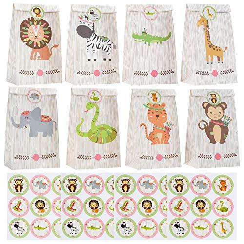 ZITFRI Papier Geschenktüten 24 Partytüten Waldtiere Mitgebsel Tüten mit 36 Aufkleber - Papiertüte für Kindergeburtstag Jungen Mädchen -Giveaway, Mitgebsel,Candy Bar Zubehör, Weihnachten usw.
