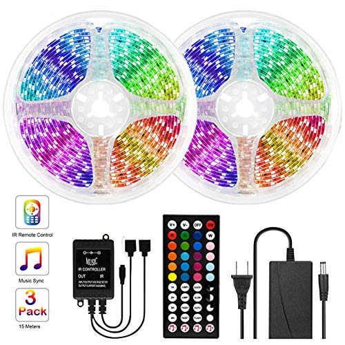 JSBVM 5M/10M Tiras LED RGB 5050, Bluetooth Musical Tiras LED 12V Tiras de Luces LED Iluminación, Control de App y Remoto Control de 44 Teclas,16 Millones de Colores, Modo Temporizador,10m