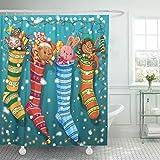 XZLWW Rotbär Weihnachtssocken & Spielzeugkranz Hase Süßigkeiten Duschvorhang Polyestergewebe mit Haken 180x200CM A