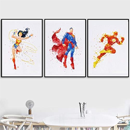 SDFSD Klassischer amerikanischer Superheld Superpower Film Cartoon Aquarell Poster Kinderzimmer Wohnkultur Wandkunst Bild Leinwand Gemälde 60 * 100cm H.