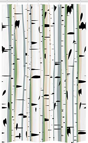 ABAKUHAUS Woud Douchegordijn, Dichte Tree Formation, voor Douchecabine Stoffen Badkamer Decoratie Set met Ophangringen, 120 x 180 cm, Veelkleurig
