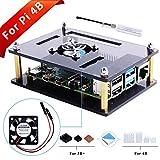 GeeekPi Caja Acrylic para Raspberry Pi 4b & Raspberry Pi 3 b+,Raspberry Pi Estuche con Ventilador de enfriamiento para Raspberry Pi 3/2 Modelo B/B + (Brown)