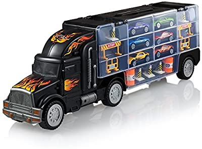 Play22 Toy Truck Transport Car Carrier - Toy Truck Includes 6 Toy Cars & Accessories - Toy Trucks Fits 28 Toy Car Slots - Great Car Toys Gift for Boys & Girls - Original