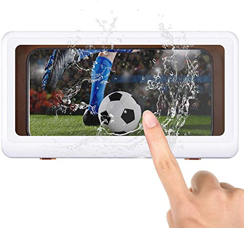 RTYU Shower Pro - Mountable Case, Shower Phone Holder Waterproof Anti-Fog Touch Screen Wall Mount Phone Holder, Fits All Mobile Phones Under 6.8 Inches, for Bathroom Mirror (White)