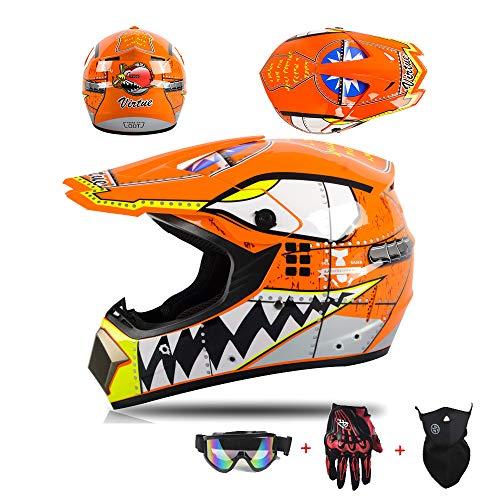 XIAMI Casco de Motocross para Motocicleta Descenso, el Color es Naranja, con...