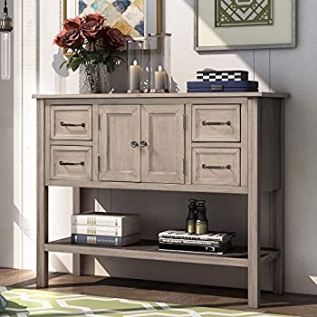 LZ LEISURE ZONE Console Table Sofa Table Modern Entryway Table for Living Room Wood Console Table with 4 Drawers Cabinet and Shelf  Cream