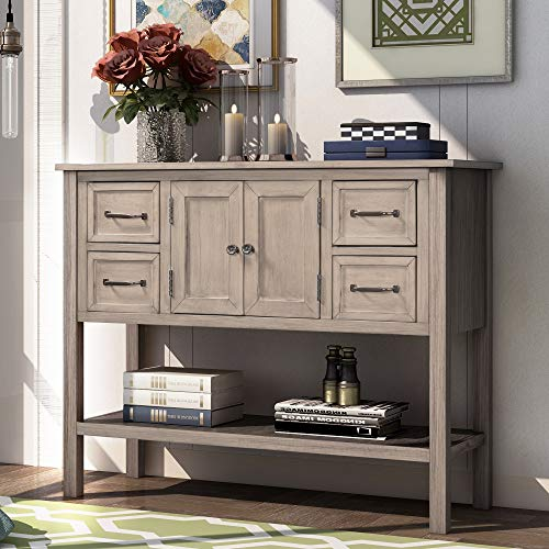 Merax 43'' Modern Wood Console Sofa Table for Living Room with 4 Drawers, 1 Cabinet and 1 Shelf, Beige