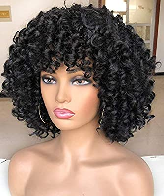 RunM Short Curly Afro Wig for Black Women Kinky Curly Wigs with Bangs Synthetic Heat Resistant Full Black Wigs 14 Inches(Black)