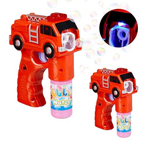 Relaxdays 2 x LED Seifenblasenpistole Feuerwehr, batteriebetrieben, mit 100 ml Seifenblasen Flüssigkeit, für Kindergeburtstag, rot