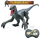 Remote Control Dinosaur Toys for Boys, Robot Dinosaur Walking 2.4Ghz Simulation Velociraptor Blue w/ LED Light & Roaring - Dinosaur Toys for Boys & Kids 4 5 6 7 8 9 10 11 12
