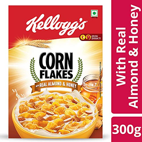 Kellogg's Healthy snacks Corn Flakes with Real Almond and Honey With Iron Shakti , 300 g