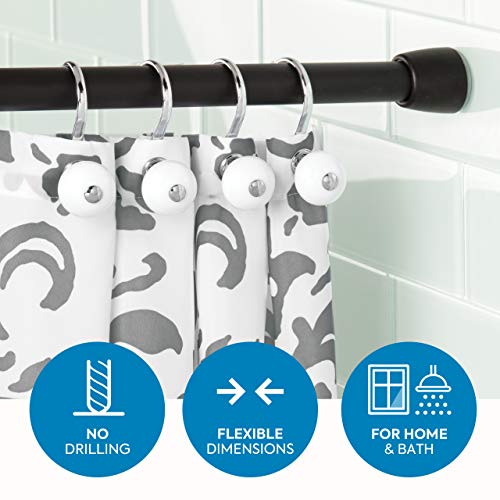 iDesign shower curtain rod, extra long telescopic metal pole, retractable shower curtain rod without drilling for shower and bath, matt black