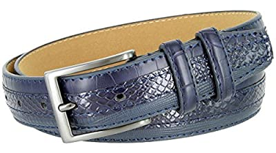 Genuine Leather Belt with Alligator, Lizard and Snake Skin Embossing (Navy, 38)
