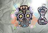HootNannyBlue Day of The Dead Sugar Skull Design Haustierkissen Bett und Totenkopf, robust, 91 x 69 x 10 cm, Polyester, faltbar, weich und bequem