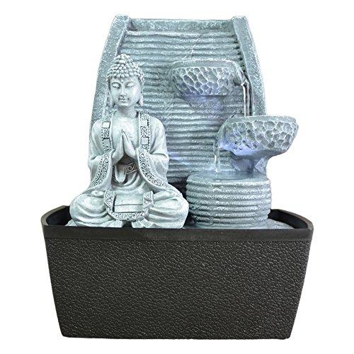 ZenLight MEDIDATION Fontaine dIntérieur Mur Bouddha Méditation, Gris Pierre/Noir