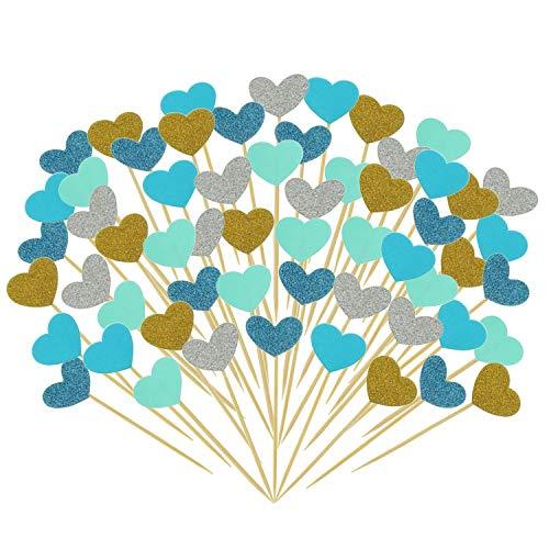 Uooker 50 Stücke Lustige Herzen Cupcake Topper Picks Dekorationen DIY Mini Glitte Kuchen Picks für Hochzeit Braut und Baby Shower Birthday Party Supplies