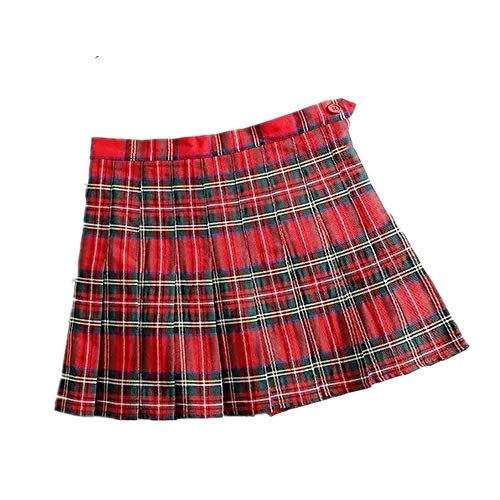 N\P Falda plisada delgada de cintura alta a cuadros